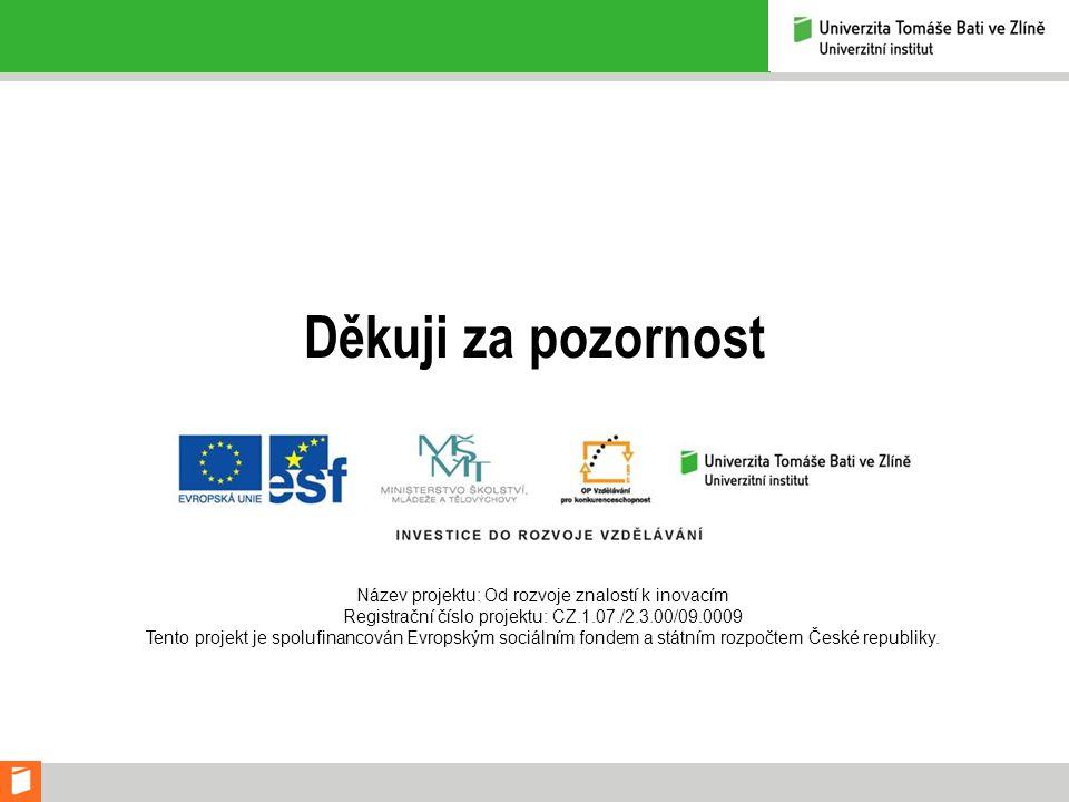 Děkuji za pozornost Název projektu: Od rozvoje znalostí k inovacím Registrační číslo projektu: CZ.1.07./2.3.00/09.0009 Tento projekt je spolufinancován Evropským sociálním fondem a státním rozpočtem České republiky.