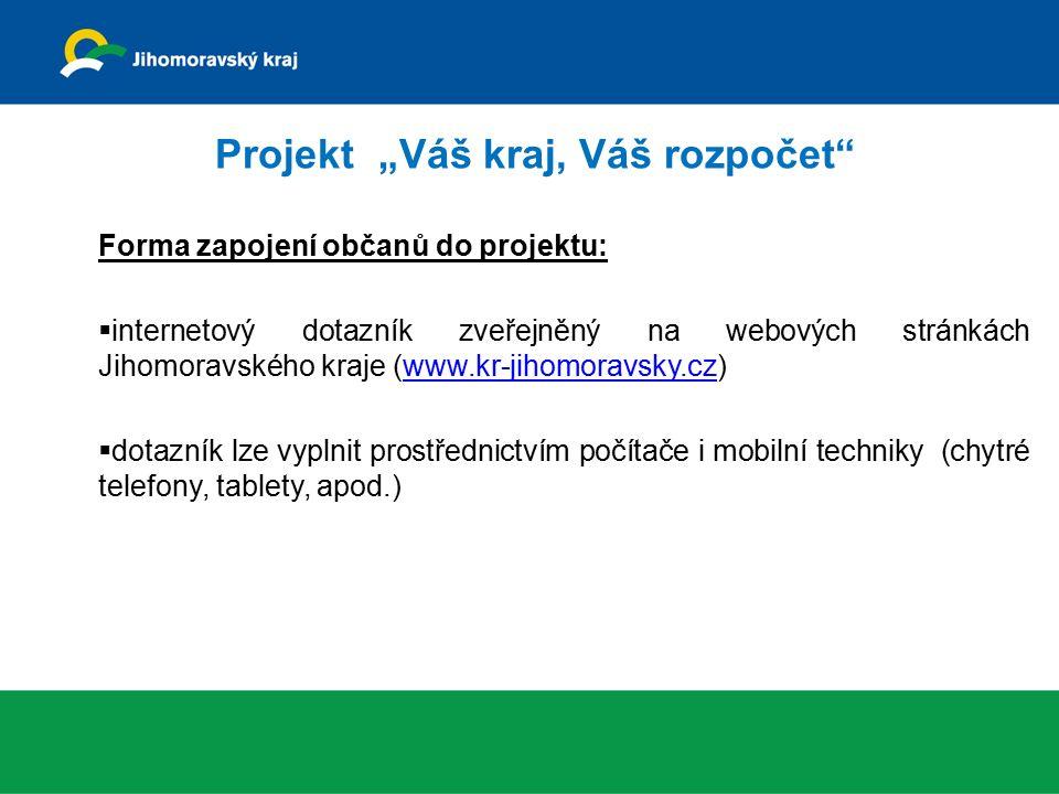 """Projekt """"Váš kraj, Váš rozpočet"""" Forma zapojení občanů do projektu:  internetový dotazník zveřejněný na webových stránkách Jihomoravského kraje (www."""
