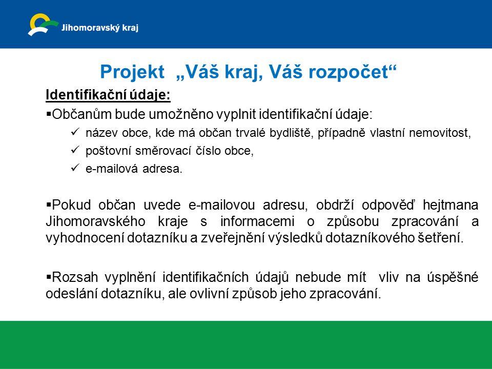 """Projekt """"Váš kraj, Váš rozpočet"""" Identifikační údaje:  Občanům bude umožněno vyplnit identifikační údaje: název obce, kde má občan trvalé bydliště, p"""