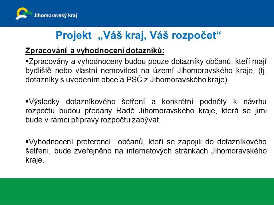 """Projekt """"Váš kraj, Váš rozpočet Zpracování a vyhodnocení dotazníků:  Zpracovány a vyhodnoceny budou pouze dotazníky občanů, kteří mají bydliště nebo vlastní nemovitost na území Jihomoravského kraje, (tj."""