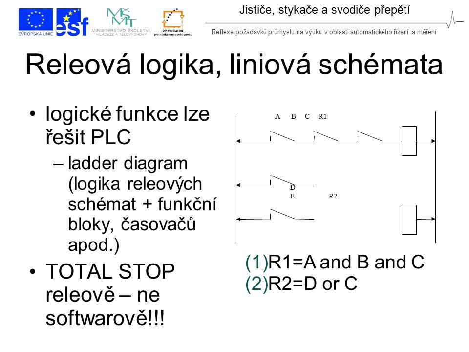 Reflexe požadavků průmyslu na výuku v oblasti automatického řízení a měření Jističe, stykače a svodiče přepětí Releová logika, liniová schémata logick