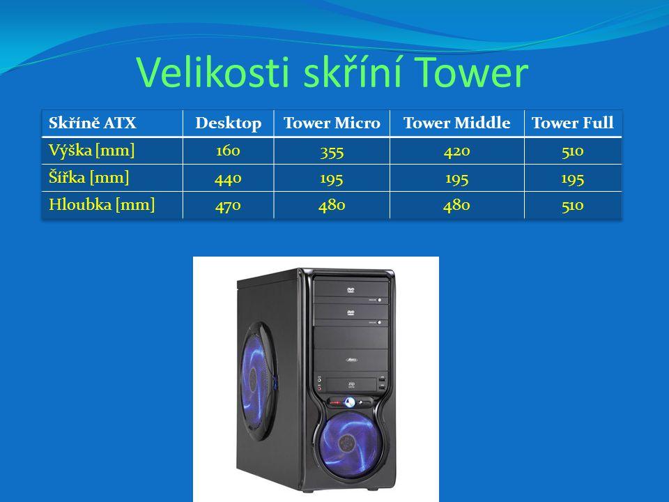 Velikosti skříní Tower