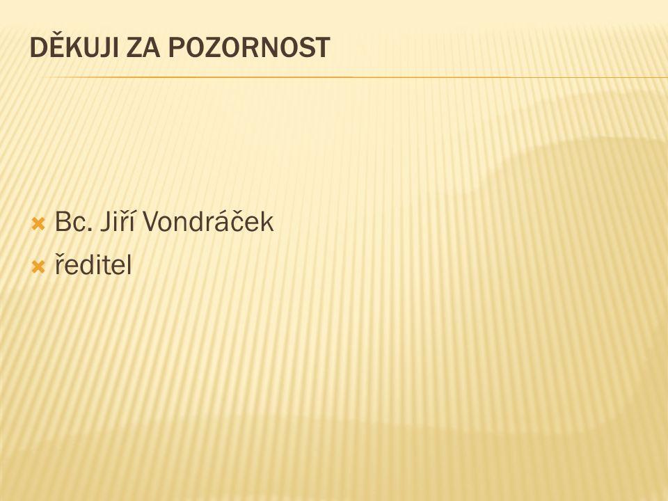 DĚKUJI ZA POZORNOST  Bc. Jiří Vondráček  ředitel