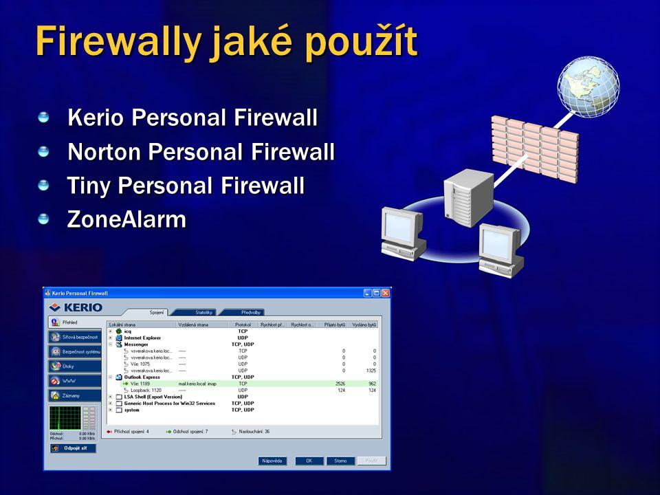 Firewally jaké použít Kerio Personal Firewall Norton Personal Firewall Tiny Personal Firewall ZoneAlarm
