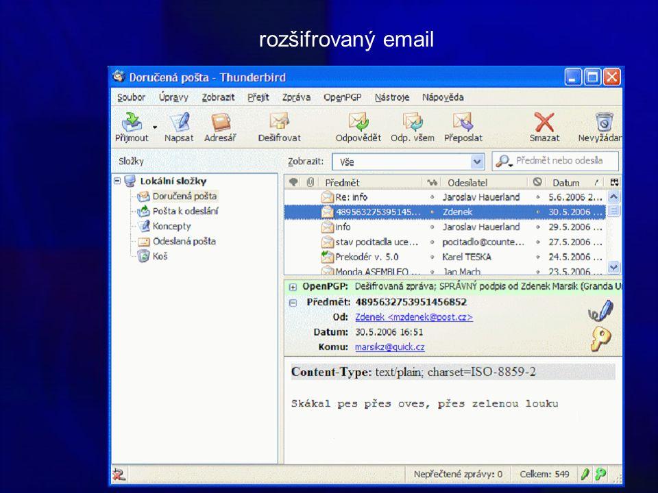 rozšifrovaný email