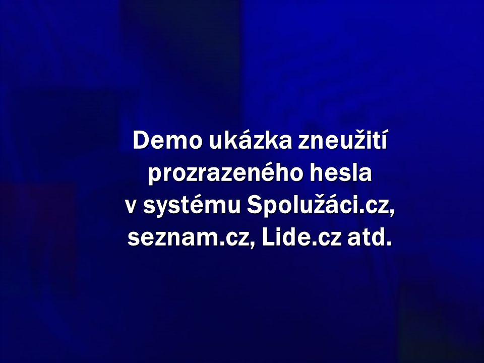 Demo ukázka zneužití prozrazeného hesla v systému Spolužáci.cz, seznam.cz, Lide.cz atd.