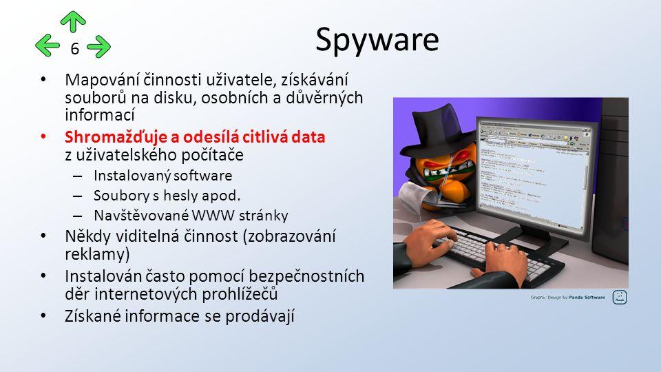 Mapování činnosti uživatele, získávání souborů na disku, osobních a důvěrných informací Shromažďuje a odesílá citlivá data z uživatelského počítače – Instalovaný software – Soubory s hesly apod.