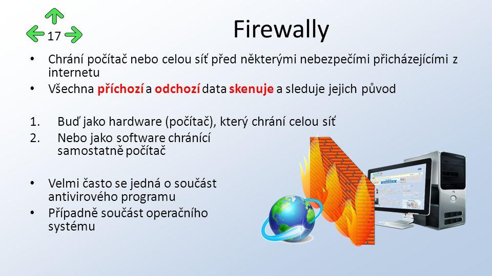 Chrání počítač nebo celou síť před některými nebezpečími přicházejícími z internetu Všechna příchozí a odchozí data skenuje a sleduje jejich původ 1.Buď jako hardware (počítač), který chrání celou síť 2.Nebo jako software chránící samostatně počítač Velmi často se jedná o součást antivirového programu Případně součást operačního systému Firewally 17