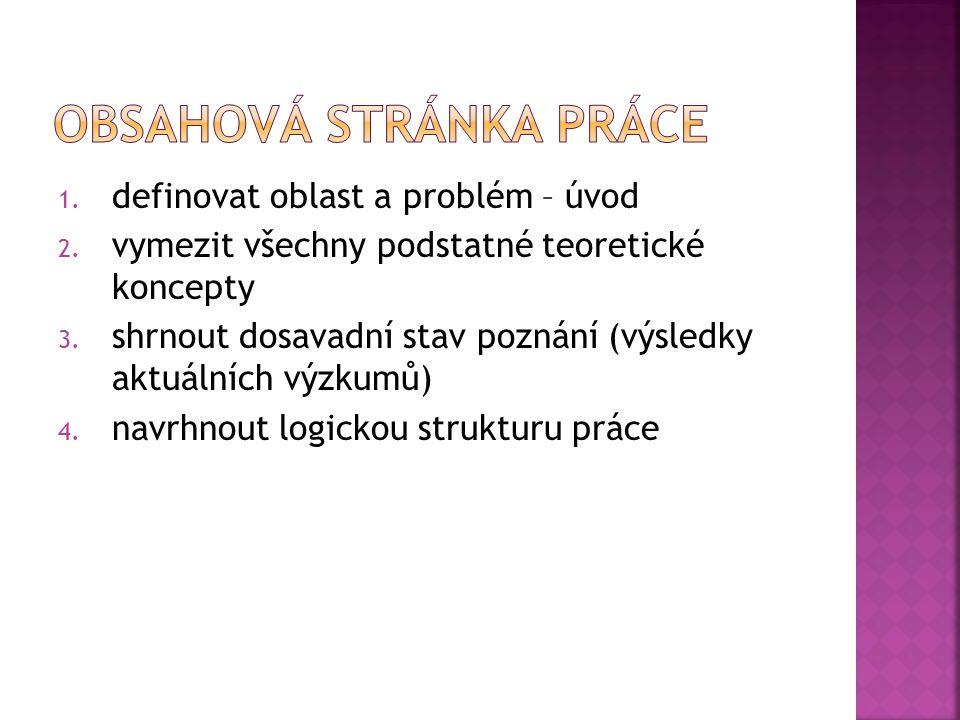 1. definovat oblast a problém – úvod 2. vymezit všechny podstatné teoretické koncepty 3.
