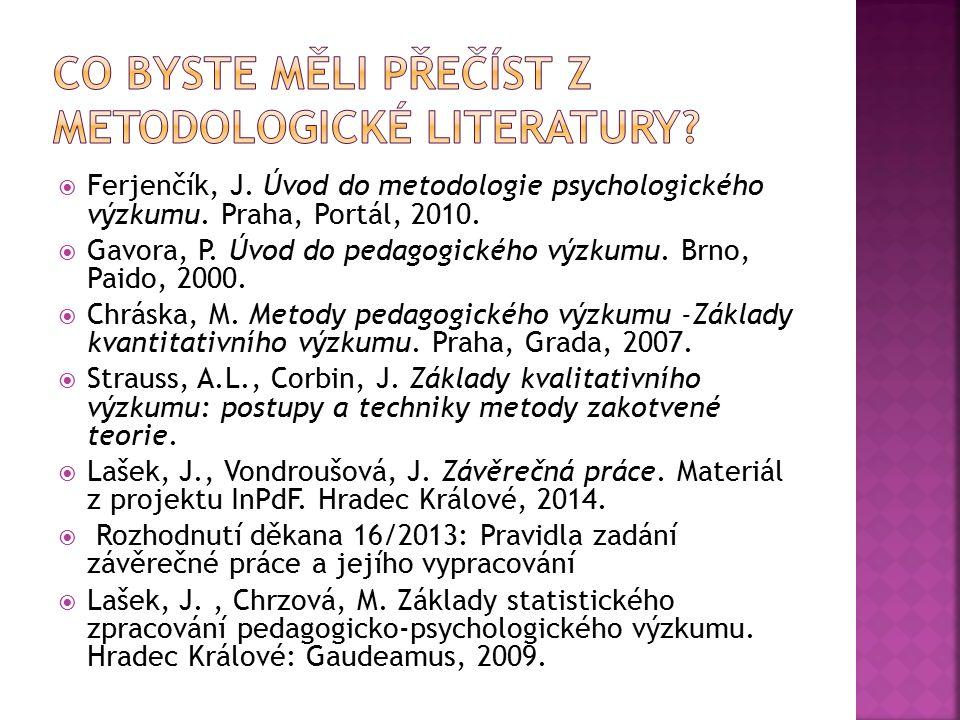  Ferjenčík, J. Úvod do metodologie psychologického výzkumu. Praha, Portál, 2010.  Gavora, P. Úvod do pedagogického výzkumu. Brno, Paido, 2000.  Chr