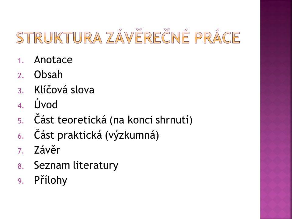 1. Anotace 2. Obsah 3. Klíčová slova 4. Úvod 5. Část teoretická (na konci shrnutí) 6. Část praktická (výzkumná) 7. Závěr 8. Seznam literatury 9. Přílo