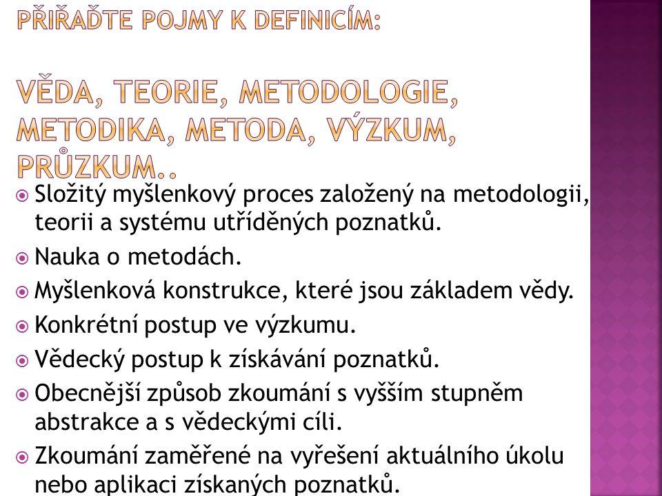  Složitý myšlenkový proces založený na metodologii, teorii a systému utříděných poznatků.  Nauka o metodách.  Myšlenková konstrukce, které jsou zák