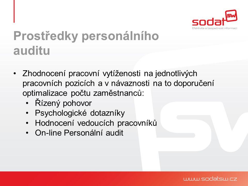 Prostředky personálního auditu Zhodnocení pracovní vytíženosti na jednotlivých pracovních pozicích a v návaznosti na to doporučení optimalizace počtu zaměstnanců: Řízený pohovor Psychologické dotazníky Hodnocení vedoucích pracovníků On-line Personální audit