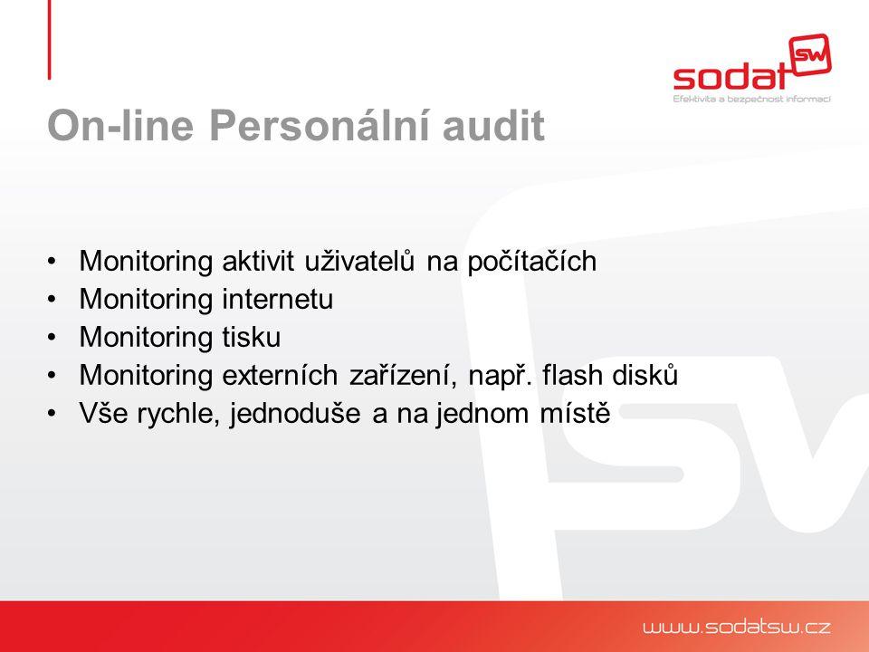 Monitoring aktivit uživatelů na počítačích Monitoring internetu Monitoring tisku Monitoring externích zařízení, např.