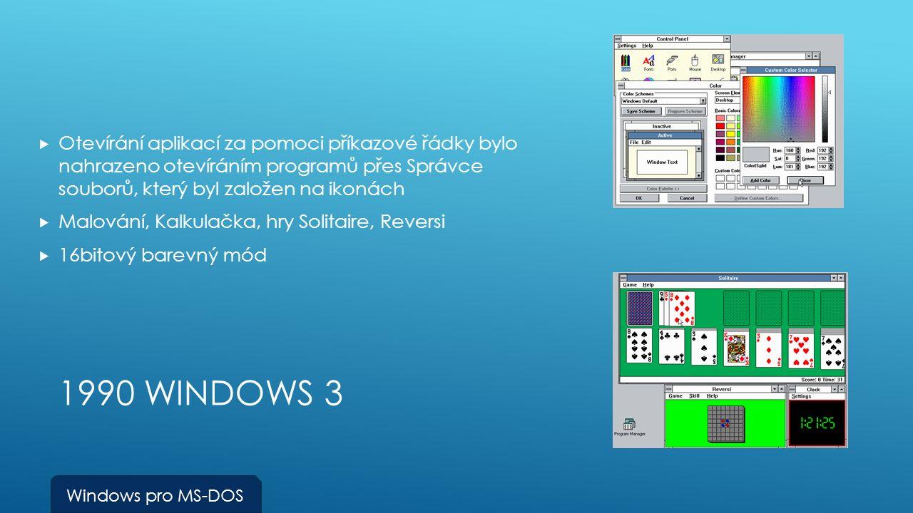 1990 WINDOWS 3  Otevírání aplikací za pomoci příkazové řádky bylo nahrazeno otevíráním programů přes Správce souborů, který byl založen na ikonách  Malování, Kalkulačka, hry Solitaire, Reversi  16bitový barevný mód Windows pro MS-DOS