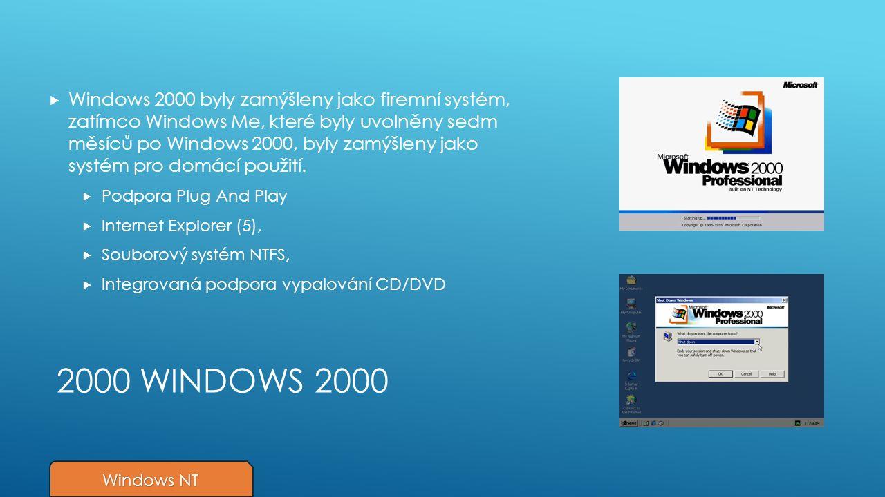 2000 WINDOWS 2000  Windows 2000 byly zamýšleny jako firemní systém, zatímco Windows Me, které byly uvolněny sedm měsíců po Windows 2000, byly zamýšleny jako systém pro domácí použití.