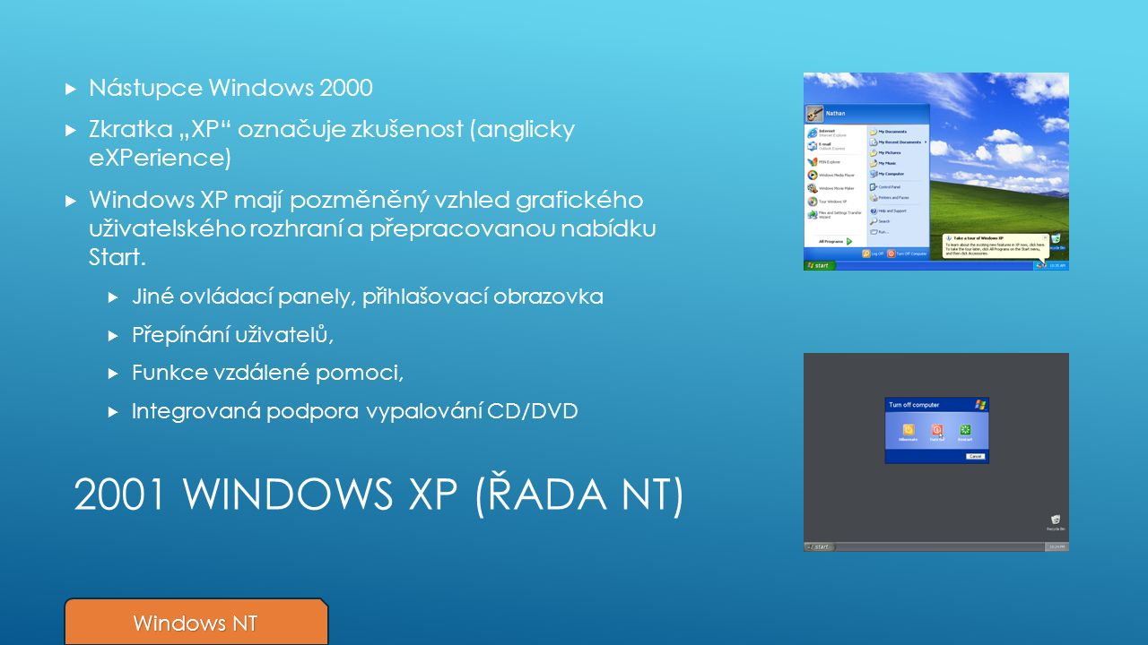 """2001 WINDOWS XP (ŘADA NT)  Nástupce Windows 2000  Zkratka """"XP označuje zkušenost (anglicky eXPerience)  Windows XP mají pozměněný vzhled grafického uživatelského rozhraní a přepracovanou nabídku Start."""
