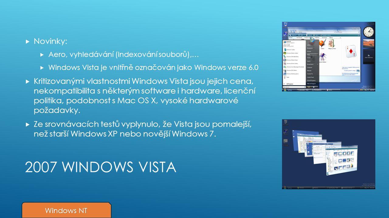 2007 WINDOWS VISTA  Novinky:  Aero, vyhledávání (indexování souborů),…  Windows Vista je vnitřně označován jako Windows verze 6.0  Kritizovanými vlastnostmi Windows Vista jsou jejich cena, nekompatibilita s některým software i hardware, licenční politika, podobnost s Mac OS X, vysoké hardwarové požadavky.