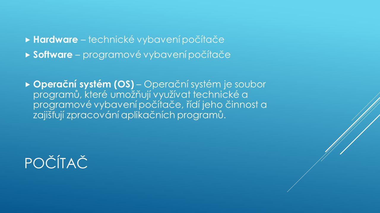 POČÍTAČ  Hardware – technické vybavení počítače  Software – programové vybavení počítače  Operační systém (OS) – Operační systém je soubor programů, které umožňují využívat technické a programové vybavení počítače, řídí jeho činnost a zajišťují zpracování aplikačních programů.