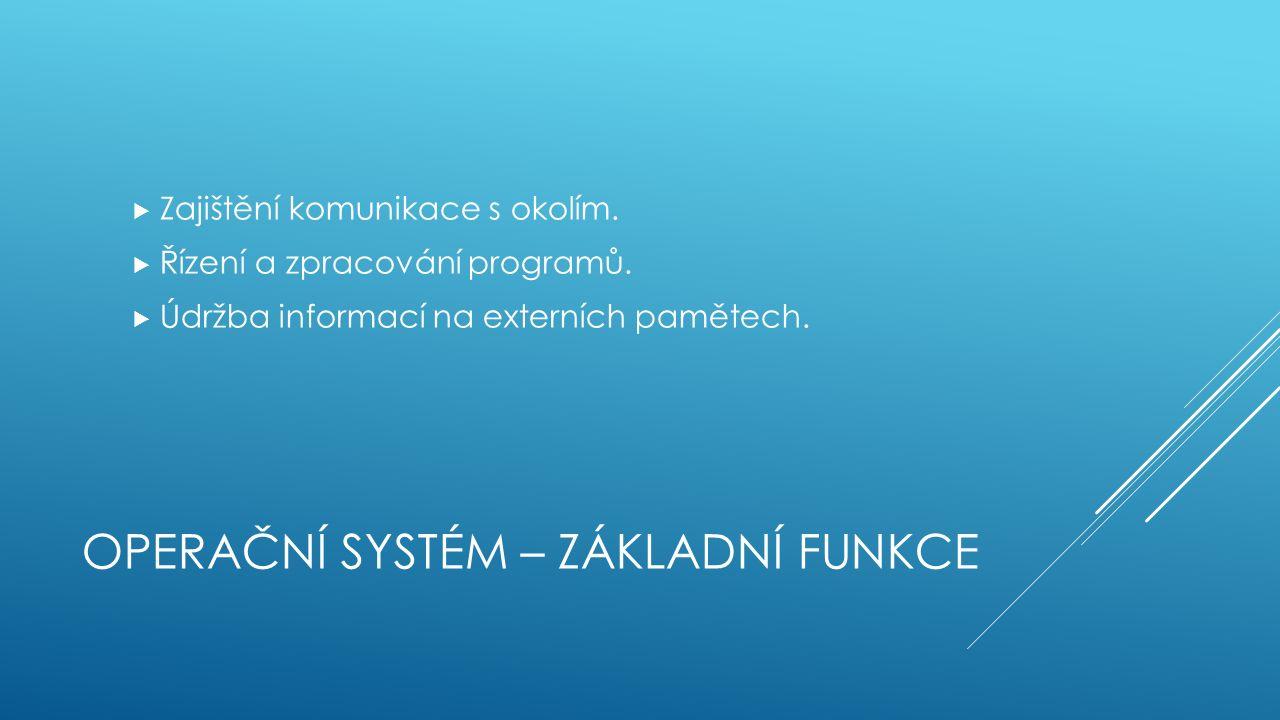 OPERAČNÍ SYSTÉM – ZÁKLADNÍ FUNKCE  Zajištění komunikace s okolím.