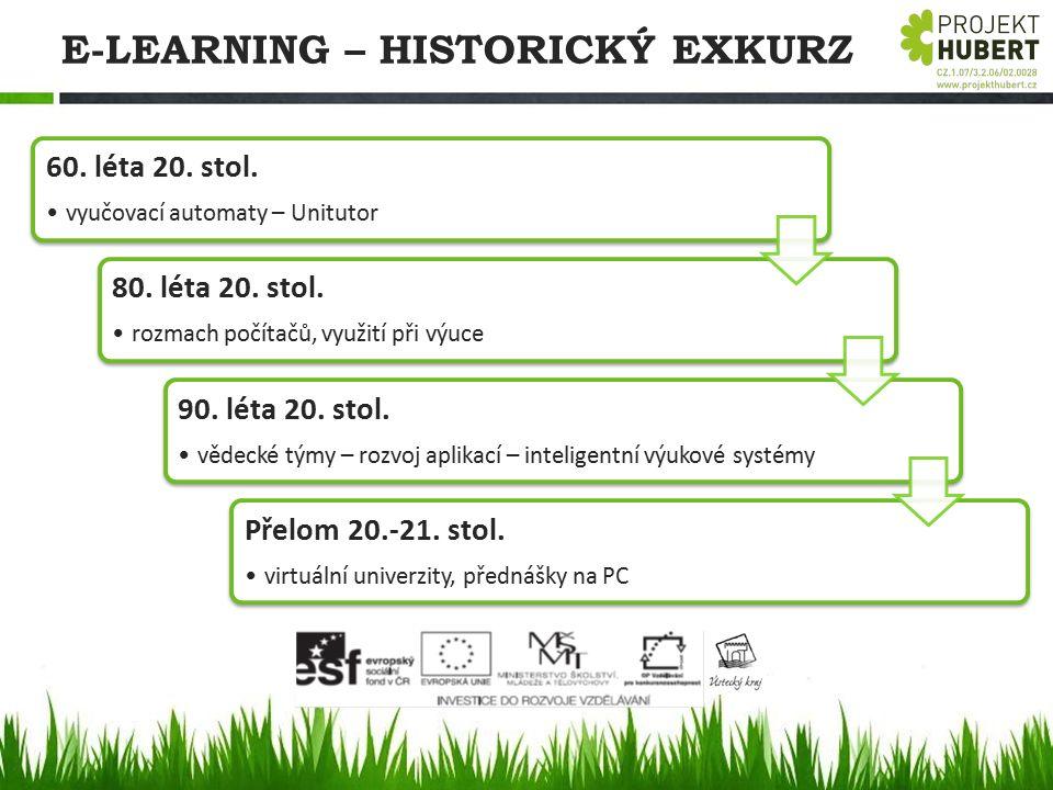 E-LEARNING – HISTORICKÝ EXKURZ 60. léta 20. stol. vyučovací automaty – Unitutor 80. léta 20. stol. rozmach počítačů, využití při výuce 90. léta 20. st