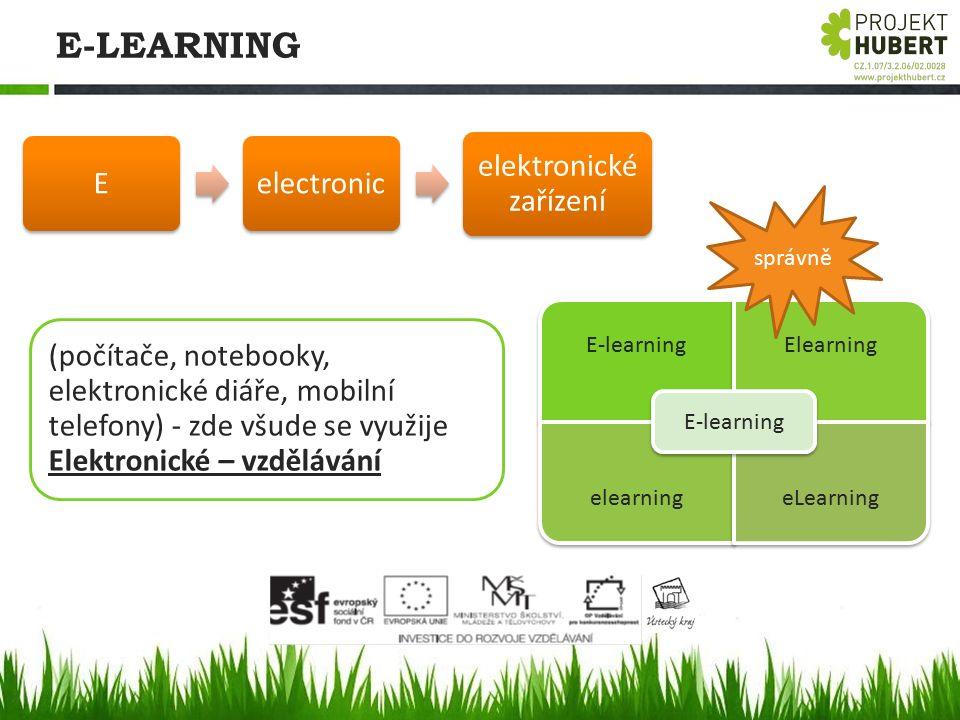 E-LEARNING E-learningElearning elearning eLearning E-learning (počítače, notebooky, elektronické diáře, mobilní telefony) - zde všude se využije Elekt