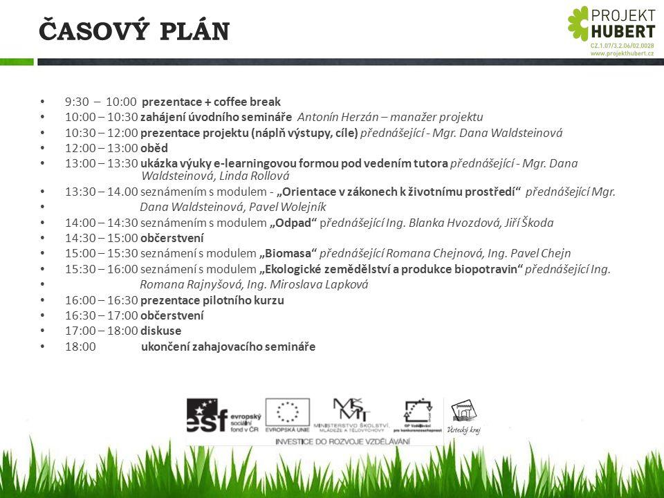 ČASOVÝ PLÁN 9:30 – 10:00 prezentace + coffee break 10:00 – 10:30 zahájení úvodního semináře Antonín Herzán – manažer projektu 10:30 – 12:00 prezentace