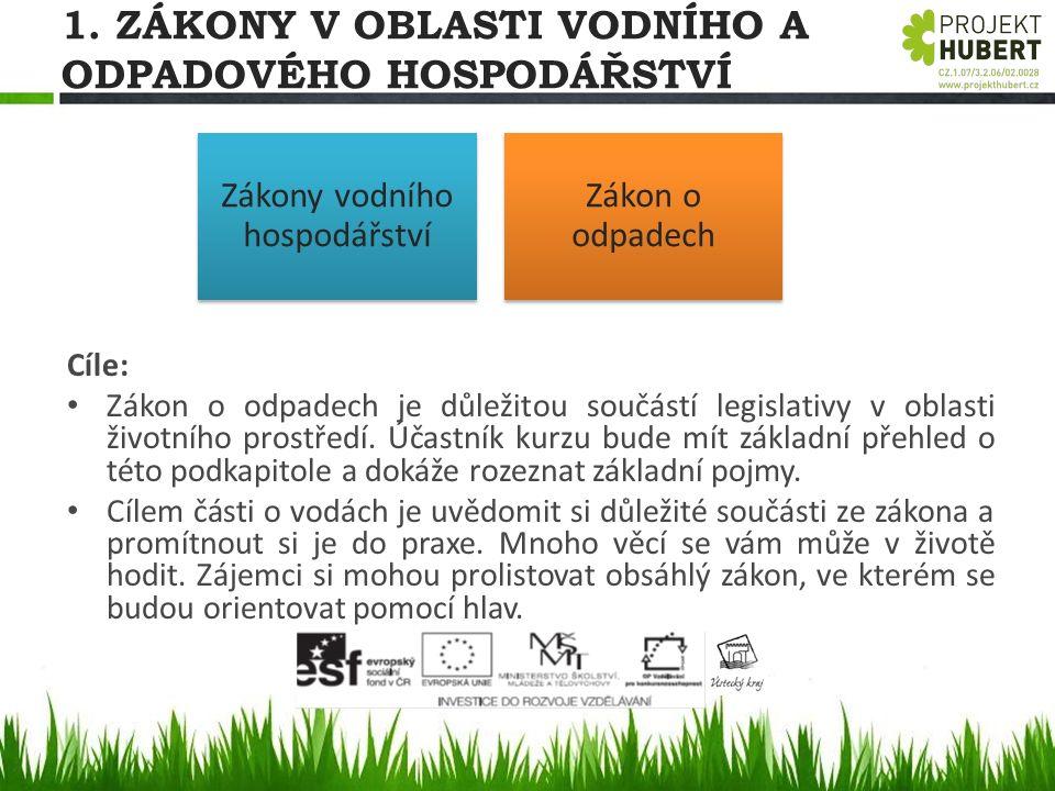 1. ZÁKONY V OBLASTI VODNÍHO A ODPADOVÉHO HOSPODÁŘSTVÍ Cíle: Zákon o odpadech je důležitou součástí legislativy v oblasti životního prostředí. Účastník