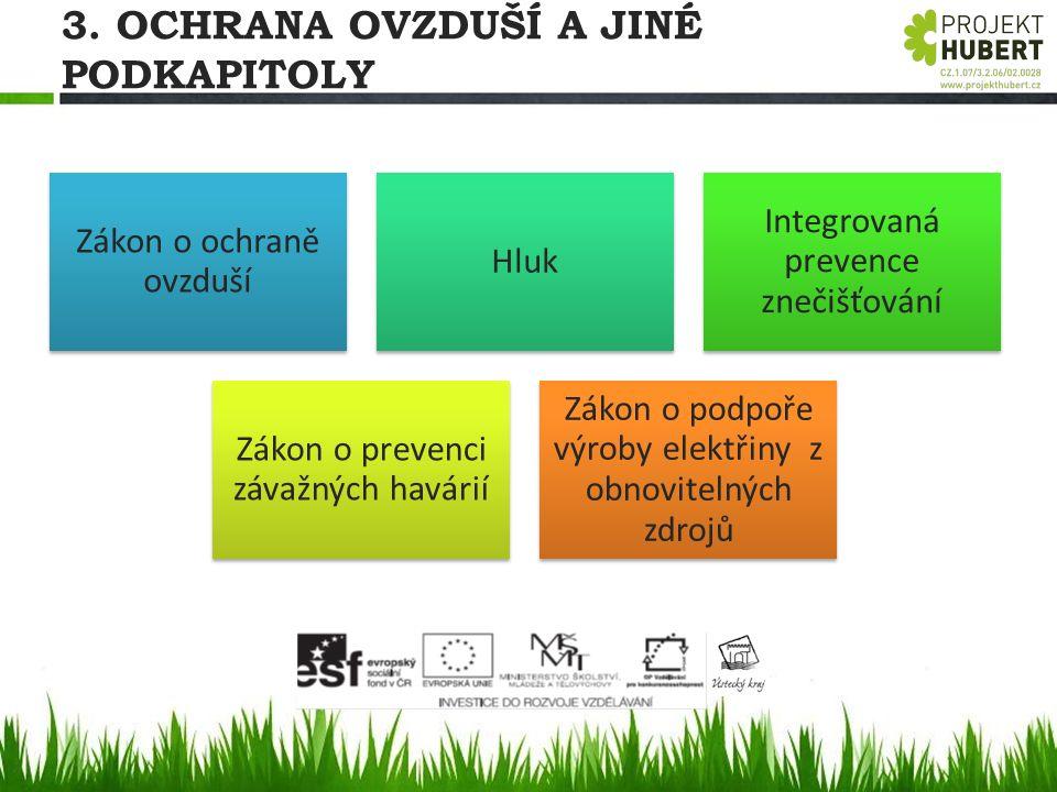 3. OCHRANA OVZDUŠÍ A JINÉ PODKAPITOLY Zákon o ochraně ovzduší Hluk Integrovaná prevence znečišťování Zákon o prevenci závažných havárií Zákon o podpoř