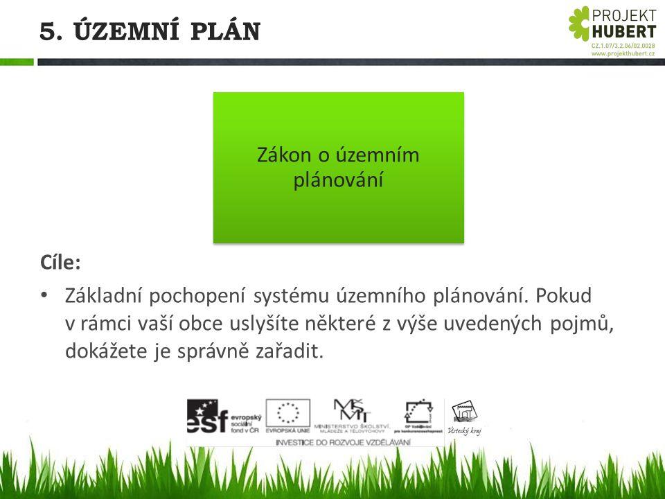 5. ÚZEMNÍ PLÁN Cíle: Základní pochopení systému územního plánování. Pokud v rámci vaší obce uslyšíte některé z výše uvedených pojmů, dokážete je správ