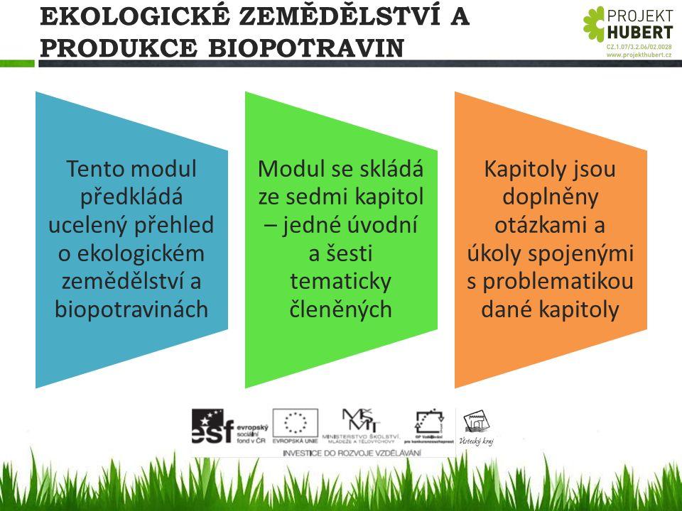 EKOLOGICKÉ ZEMĚDĚLSTVÍ A PRODUKCE BIOPOTRAVIN Tento modul předkládá ucelený přehled o ekologickém zemědělství a biopotravinách Modul se skládá ze sedm