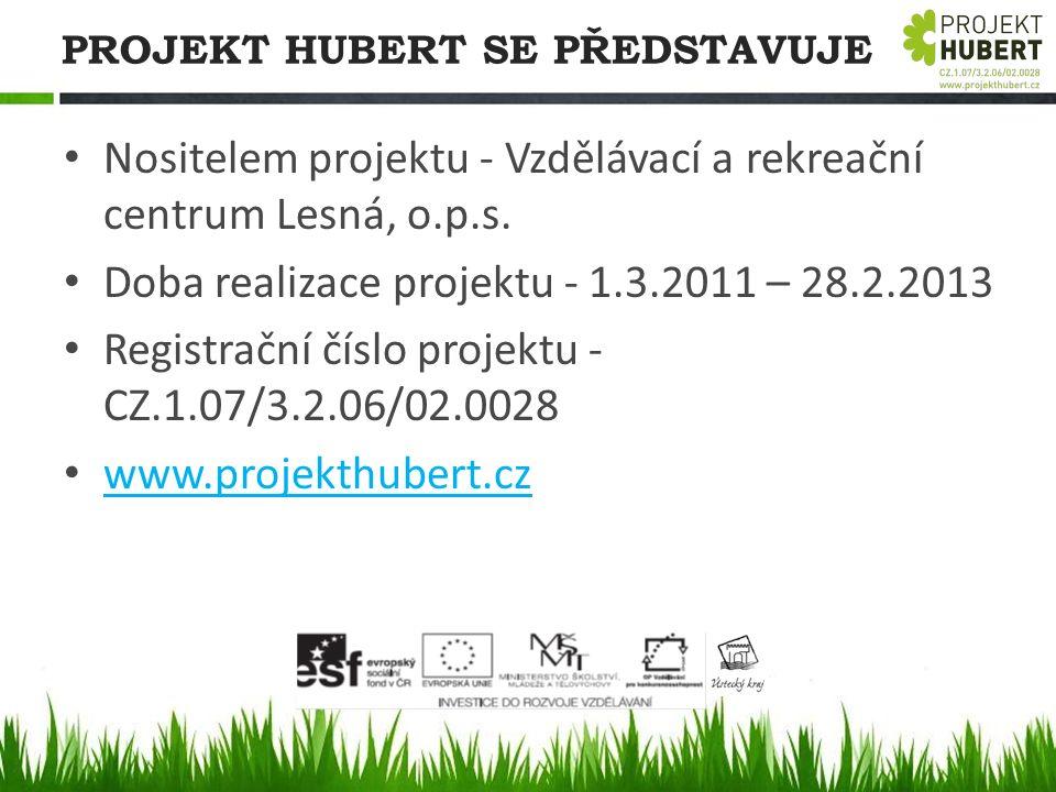 PROJEKT HUBERT SE PŘEDSTAVUJE Nositelem projektu - Vzdělávací a rekreační centrum Lesná, o.p.s. Doba realizace projektu - 1.3.2011 – 28.2.2013 Registr