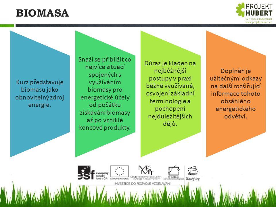 BIOMASA Kurz představuje biomasu jako obnovitelný zdroj energie. Snaží se přiblížit co nejvíce situací spojených s využíváním biomasy pro energetické