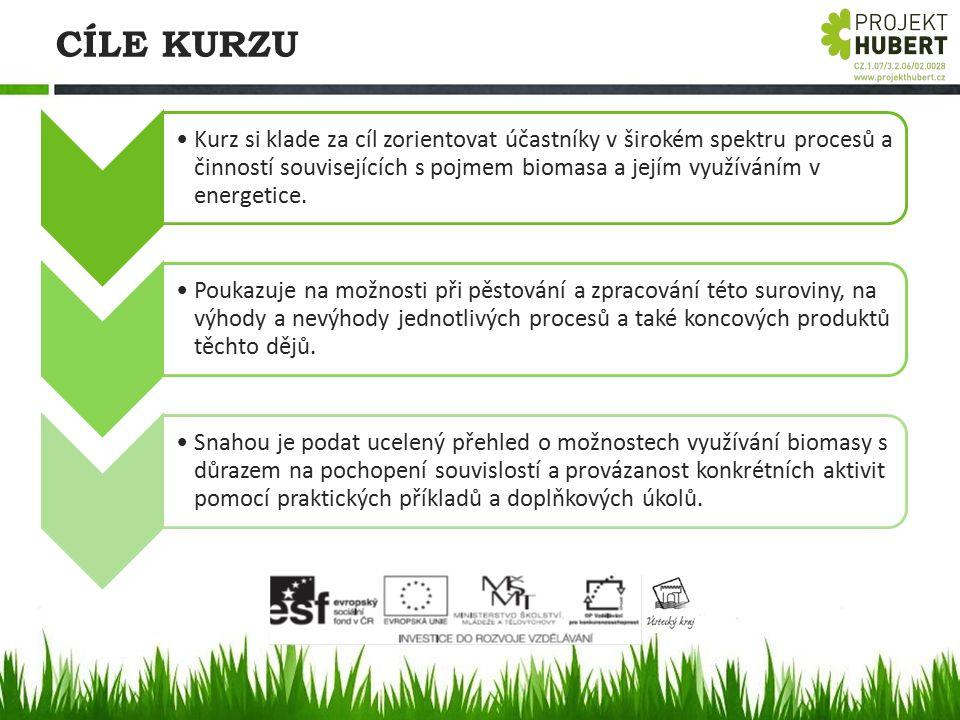 CÍLE KURZU Kurz si klade za cíl zorientovat účastníky v širokém spektru procesů a činností souvisejících s pojmem biomasa a jejím využíváním v energet