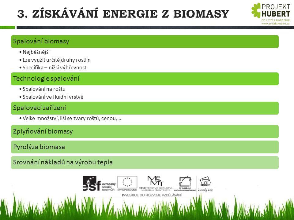 3. ZÍSKÁVÁNÍ ENERGIE Z BIOMASY Spalování biomasy Nejběžnější Lze využít určité druhy rostlin Specifika – nižší výhřevnost Technologie spalování Spalov