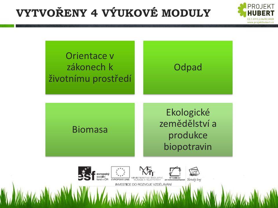 VYTVOŘENY 4 VÝUKOVÉ MODULY Orientace v zákonech k životnímu prostředí Odpad Biomasa Ekologické zemědělství a produkce biopotravin