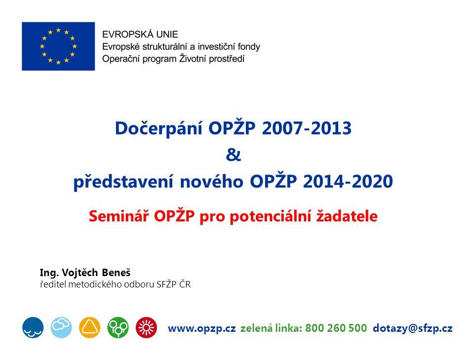 www.opzp.cz zelená linka: 800 260 500 dotazy@sfzp.cz Dočerpání OPŽP 2007-2013 & představení nového OPŽP 2014-2020 Seminář OPŽP pro potenciální žadatele Ing.