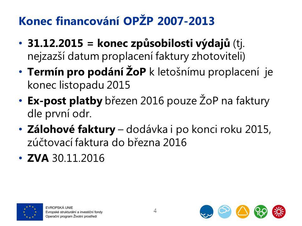 Konec financování OPŽP 2007-2013 31.12.2015 = konec způsobilosti výdajů (tj.