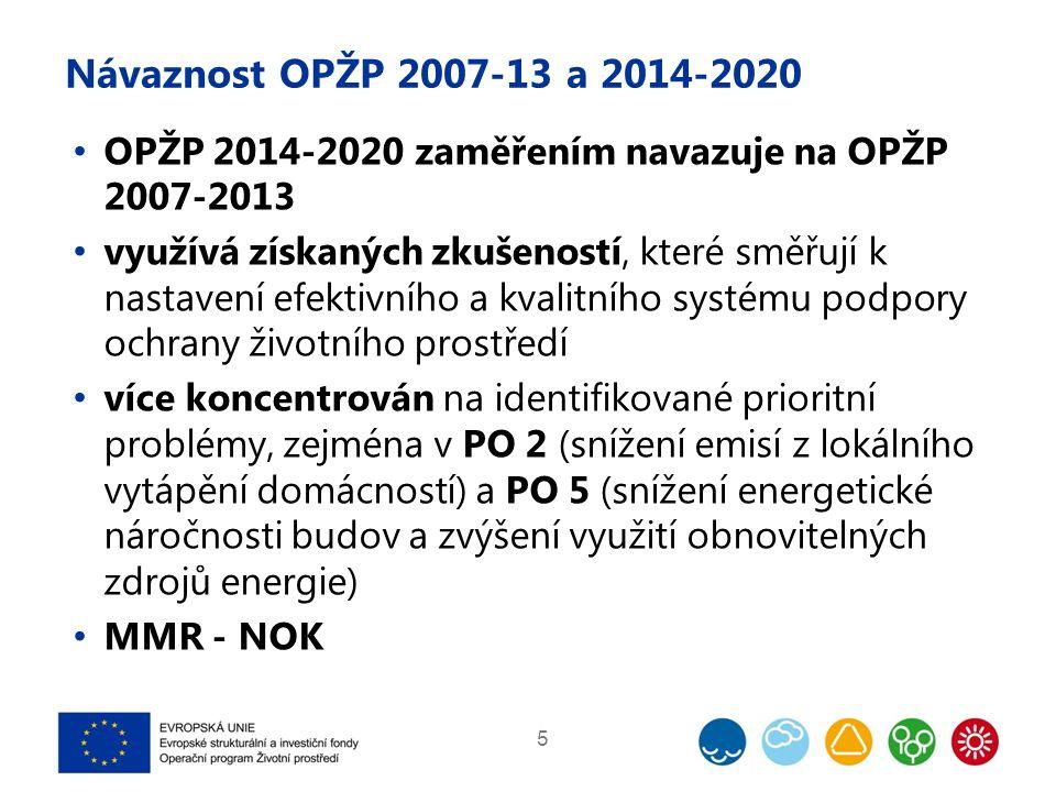 Návaznost OPŽP 2007-13 a 2014-2020 OPŽP 2014-2020 zaměřením navazuje na OPŽP 2007-2013 využívá získaných zkušeností, které směřují k nastavení efektivního a kvalitního systému podpory ochrany životního prostředí více koncentrován na identifikované prioritní problémy, zejména v PO 2 (snížení emisí z lokálního vytápění domácností) a PO 5 (snížení energetické náročnosti budov a zvýšení využití obnovitelných zdrojů energie) MMR - NOK 5