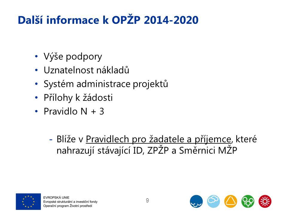 Další informace k OPŽP 2014-2020 Výše podpory Uznatelnost nákladů Systém administrace projektů Přílohy k žádosti Pravidlo N + 3  Blíže v Pravidlech pro žadatele a příjemce, které nahrazují stávající ID, ZPŽP a Směrnici MŽP 9