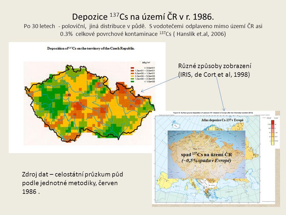 Depozice 137 Cs na území ČR v r. 1986. Po 30 letech - poloviční, jiná distribuce v půdě.