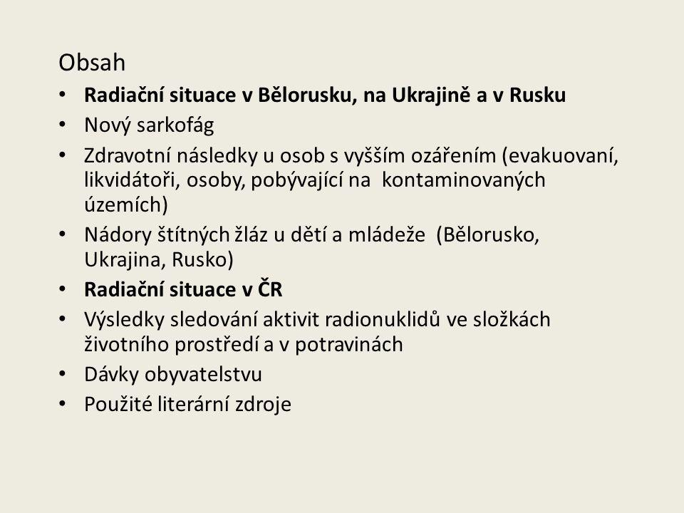 Obsah Radiační situace v Bělorusku, na Ukrajině a v Rusku Nový sarkofág Zdravotní následky u osob s vyšším ozářením (evakuovaní, likvidátoři, osoby, p
