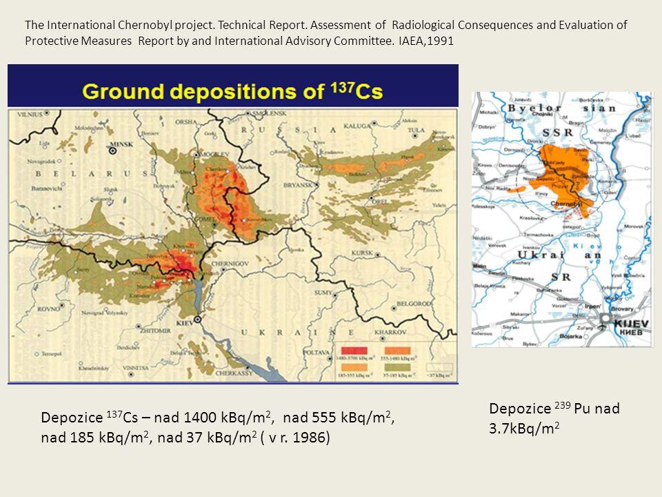 Depozice 137 Cs – nad 1400 kBq/m 2, nad 555 kBq/m 2, nad 185 kBq/m 2, nad 37 kBq/m 2 ( v r.