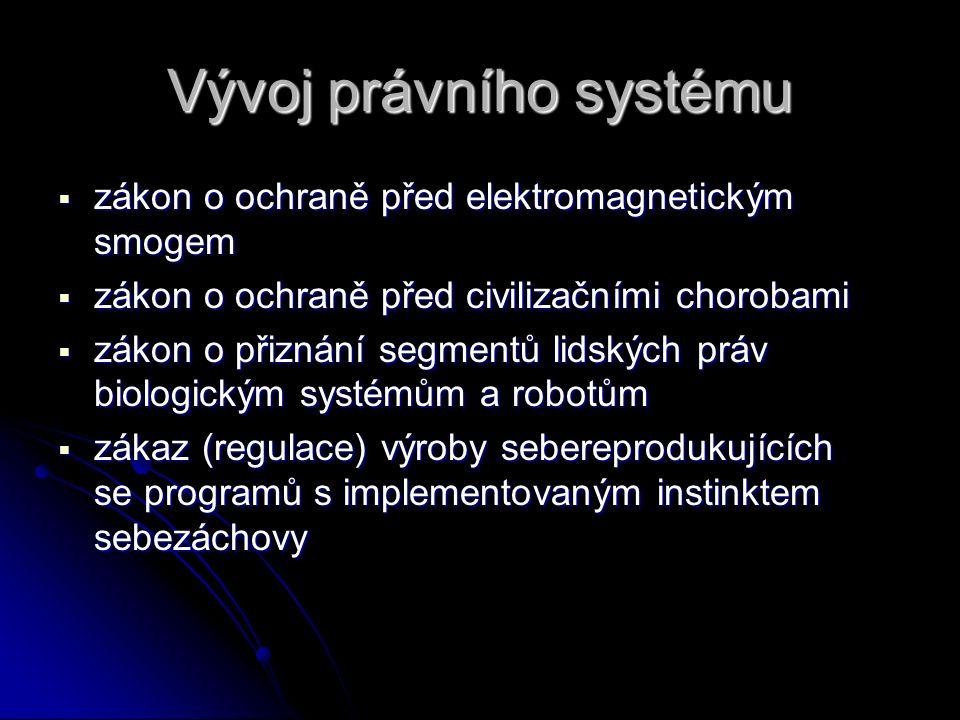 Vývoj právního systému  zákon o ochraně před elektromagnetickým smogem  zákon o ochraně před civilizačními chorobami  zákon o přiznání segmentů lidských práv biologickým systémům a robotům  zákaz (regulace) výroby sebereprodukujících se programů s implementovaným instinktem sebezáchovy