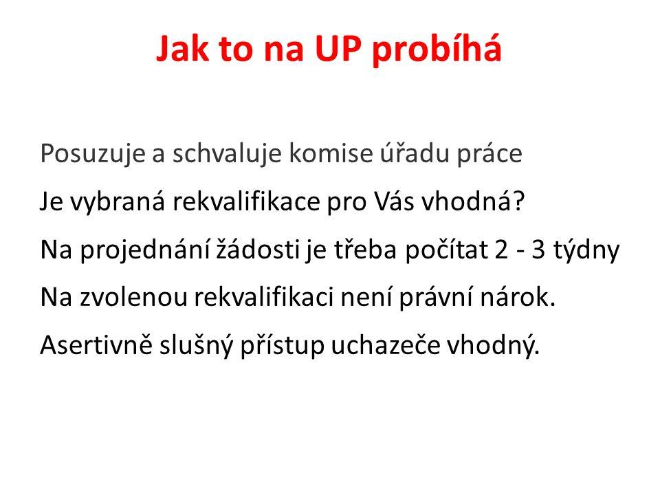 Jak to na UP probíhá Posuzuje a schvaluje komise úřadu práce Je vybraná rekvalifikace pro Vás vhodná.