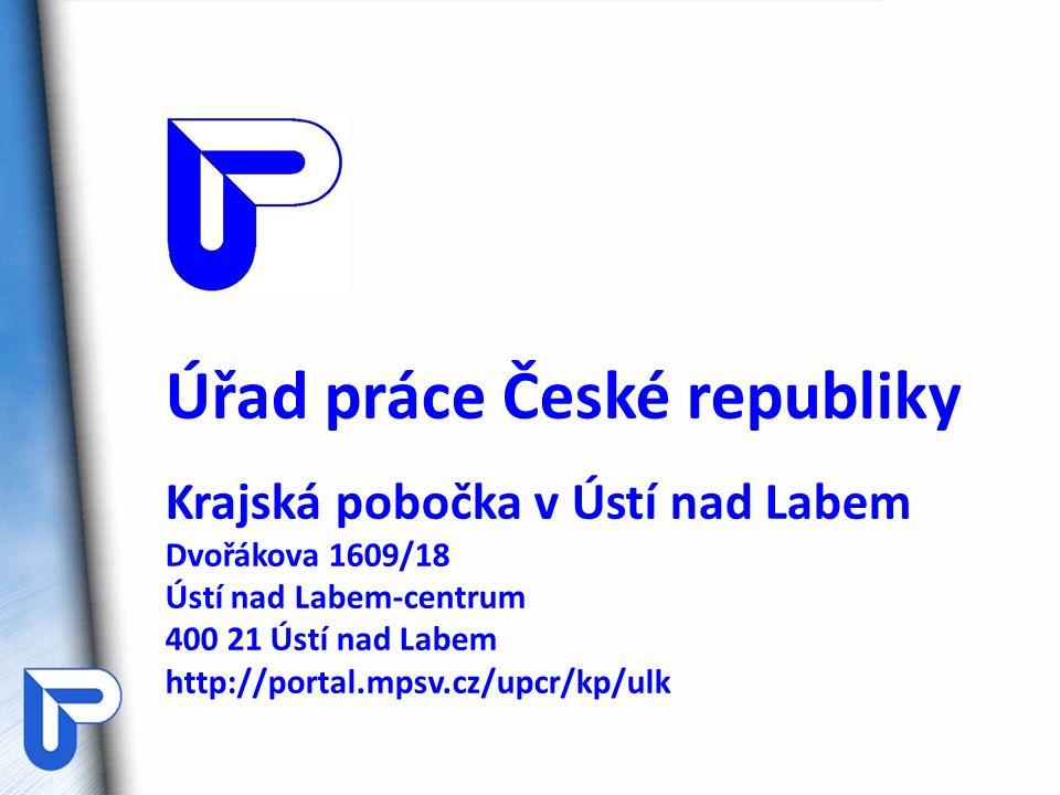 Úřad práce České republiky Krajská pobočka v Ústí nad Labem Dvořákova 1609/18 Ústí nad Labem-centrum 400 21 Ústí nad Labem http://portal.mpsv.cz/upcr/kp/ulk