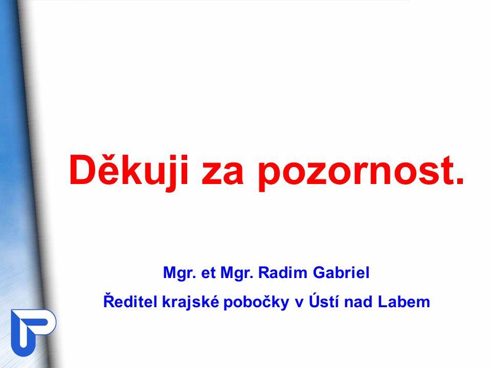 Děkuji za pozornost. Mgr. et Mgr. Radim Gabriel Ředitel krajské pobočky v Ústí nad Labem