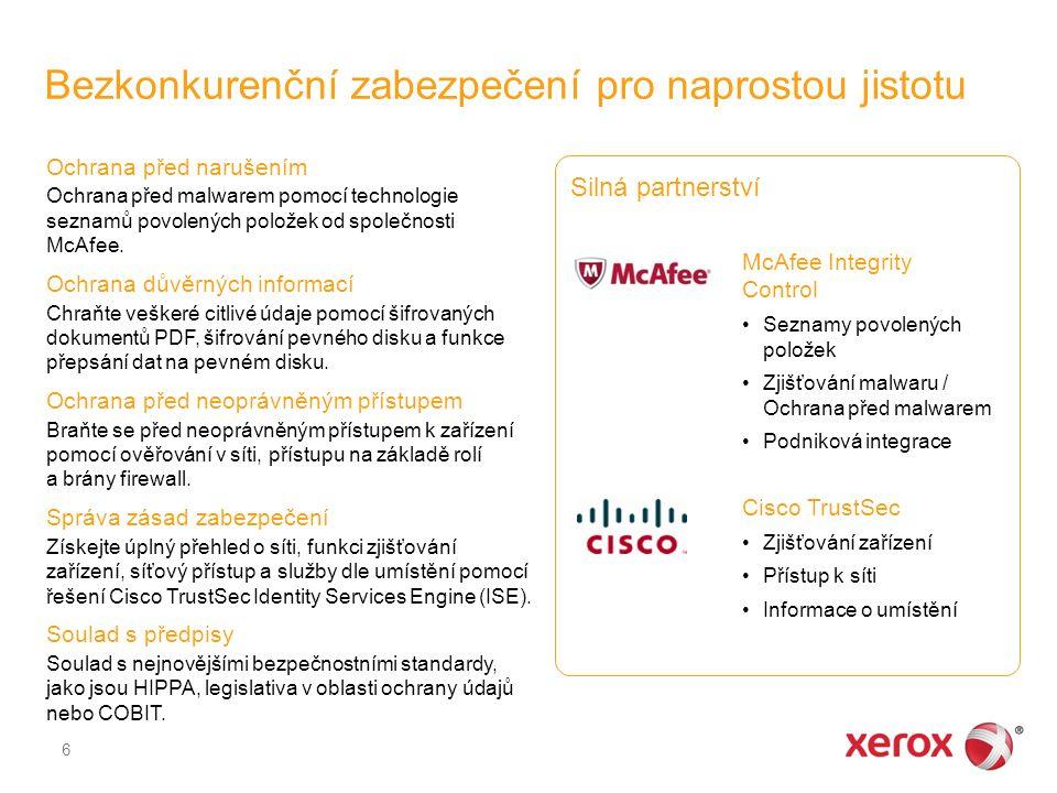 Bezkonkurenční zabezpečení pro naprostou jistotu 6 Ochrana před narušením Ochrana před malwarem pomocí technologie seznamů povolených položek od společnosti McAfee.