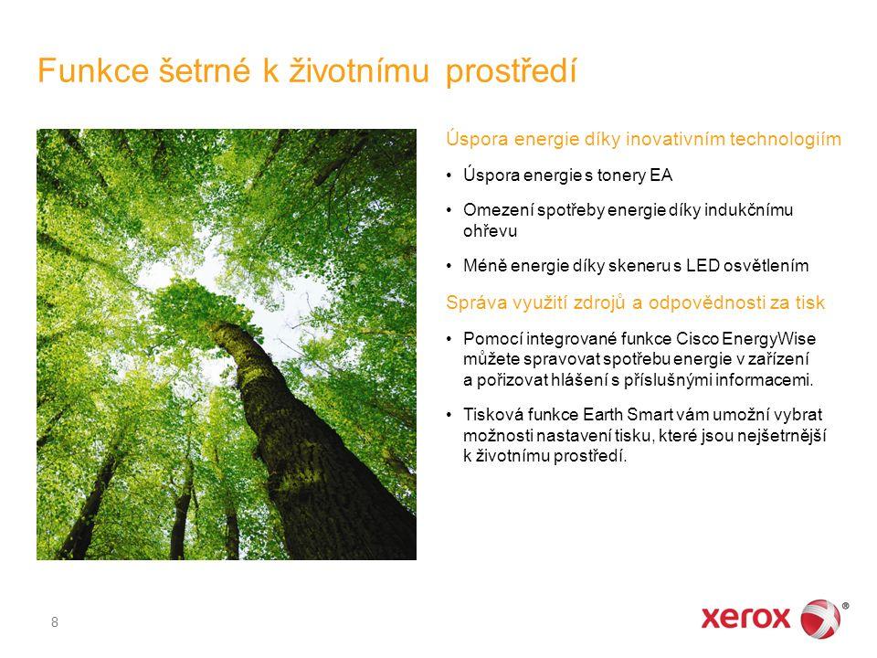 Funkce šetrné k životnímu prostředí 8 Úspora energie díky inovativním technologiím Úspora energie s tonery EA Omezení spotřeby energie díky indukčnímu