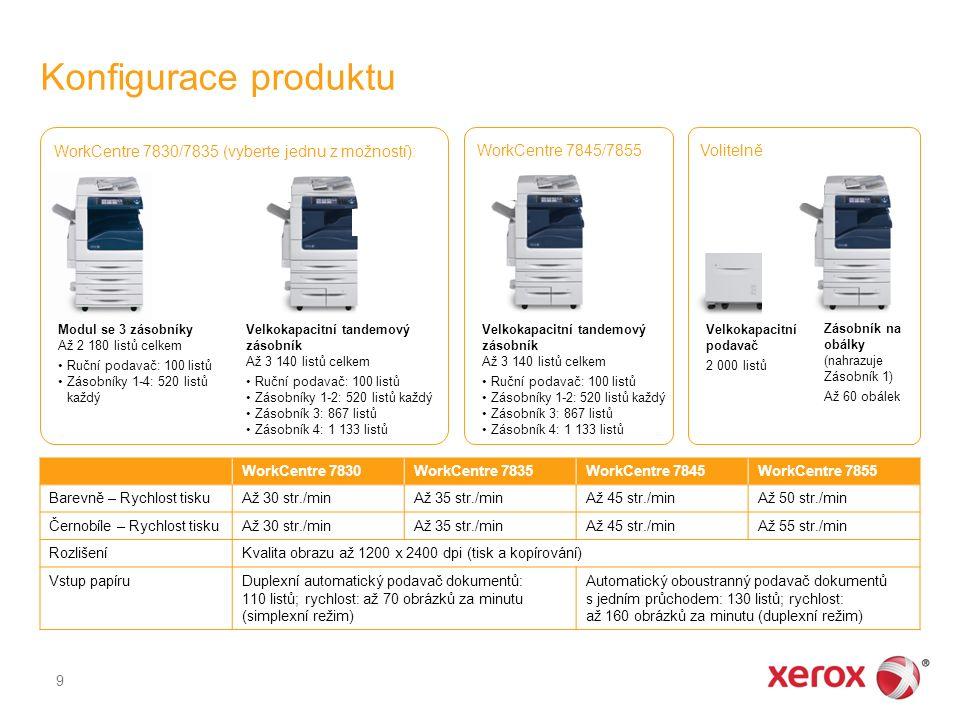 Konfigurace produktu 9 WorkCentre 7830WorkCentre 7835WorkCentre 7845WorkCentre 7855 Barevně – Rychlost tiskuAž 30 str./minAž 35 str./minAž 45 str./min
